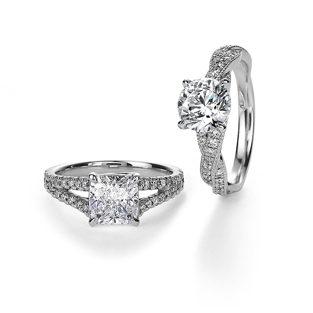 1 Carat Cushion & Round Excellent Cut Diamond Rings By Mark Hiroshi Willis