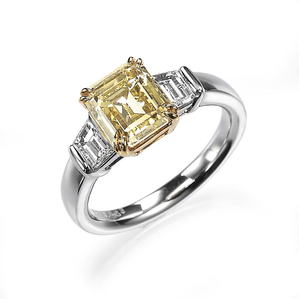 1 Carat Fancy Color Emerald Cut Diamond Ring By Mark Hiroshi Willis