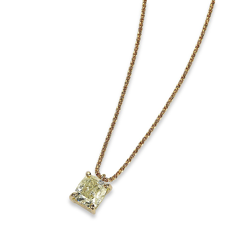 1Carat Cushion Cut Diamond Necklace By Mark Hiroshi Willis