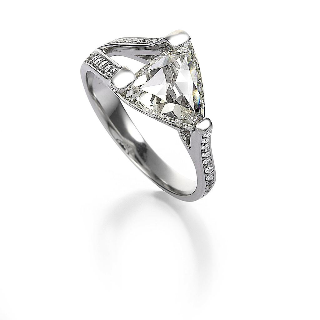 2.01 Carat Trilliant Rose Cut Diamond Ring By Mark Hiroshi Willis