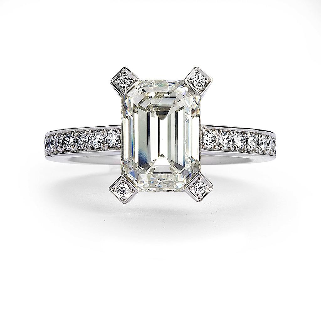 2.85 Carat Emerald Cut Diamond Ring By Mark Hiroshi Willis