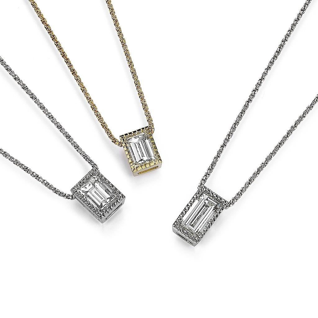 Emerald Cut / Baguette Cut Diamond Necklace by Mark Hiroshi Willis