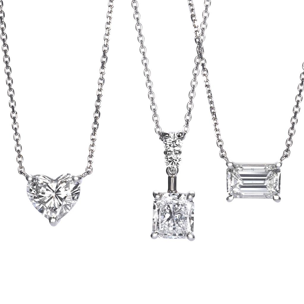 1Carat Heart Princess Emerald Cut Necklaces By Mark Hiroshi Willis