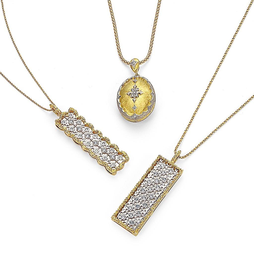 Antique Style Lace Diamond Necklaces and Diamond Locket by Mark Hiroshi Willis