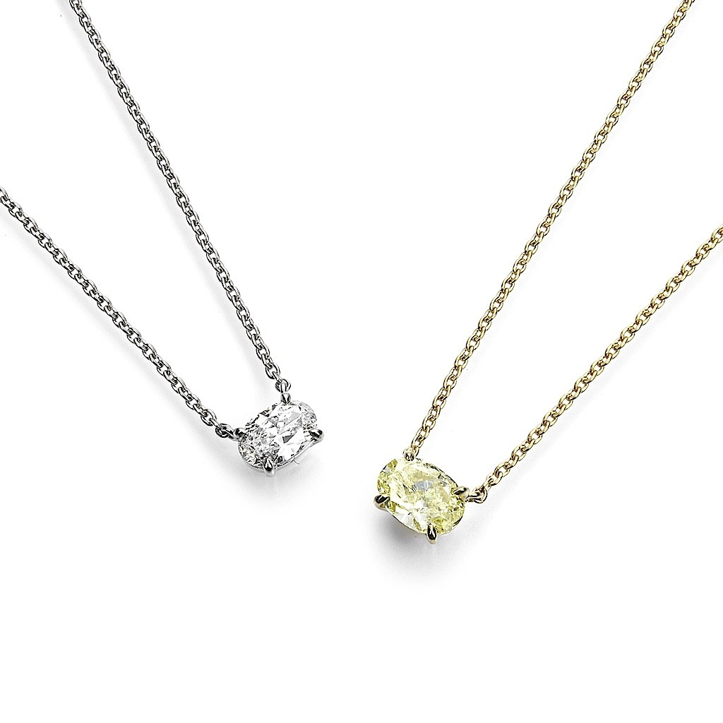 Oval Cut Diamond Necklaces By Mark Hiroshi Willis