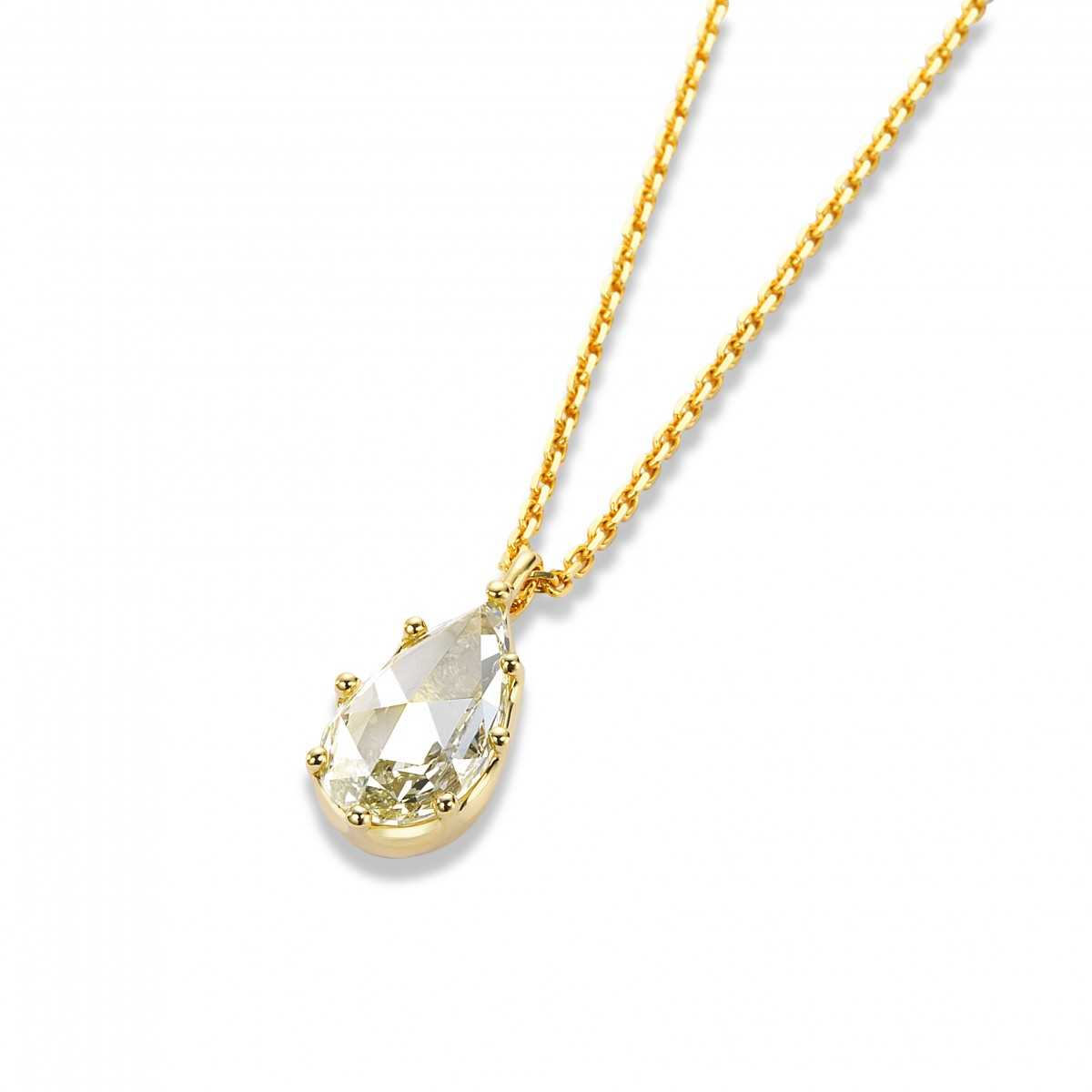2ct Pear Shape Rose Cut Necklace By Mark Hiroshi Willis