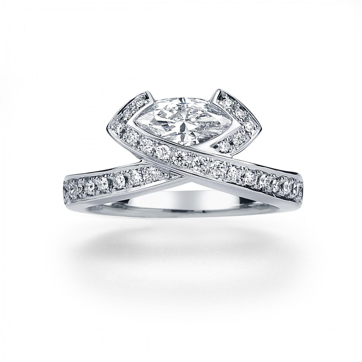 K18WG Marquise Shape Diamond Ring By Mark Hiroshi Willis