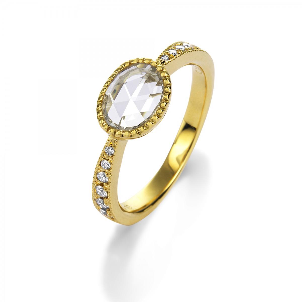 K18YG OVAL ROSE CUT DIAMOND RING BY MARK HIROSHI WILLIS