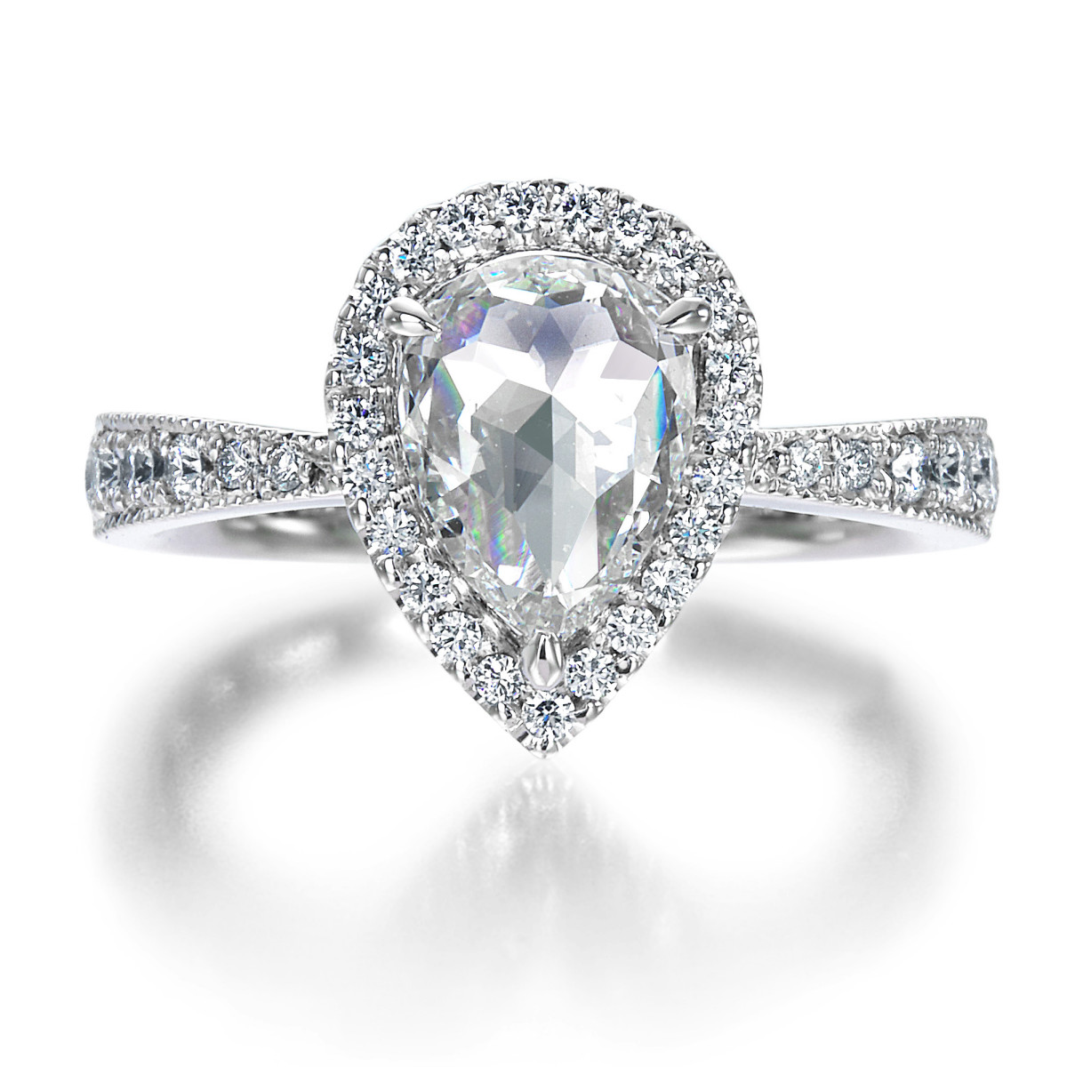 1 CT PEAR SHAPE ROSE CUT DIAMOND RING BY MARK HIROSHI WILLIS