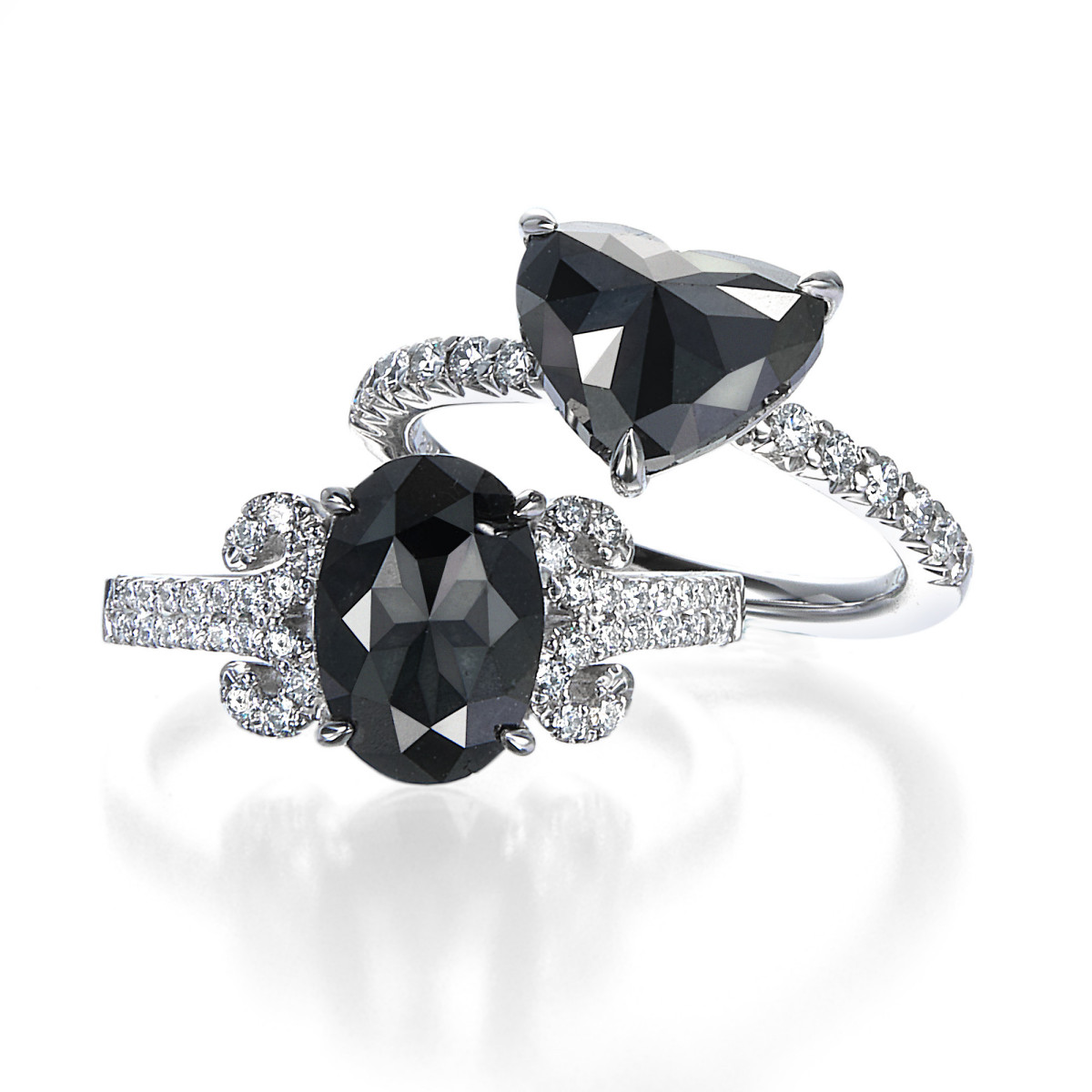 2 Carat Black Rose Cut Diamond Rings | Oval Cut & Heart Shape By Mark Hiroshi Willis