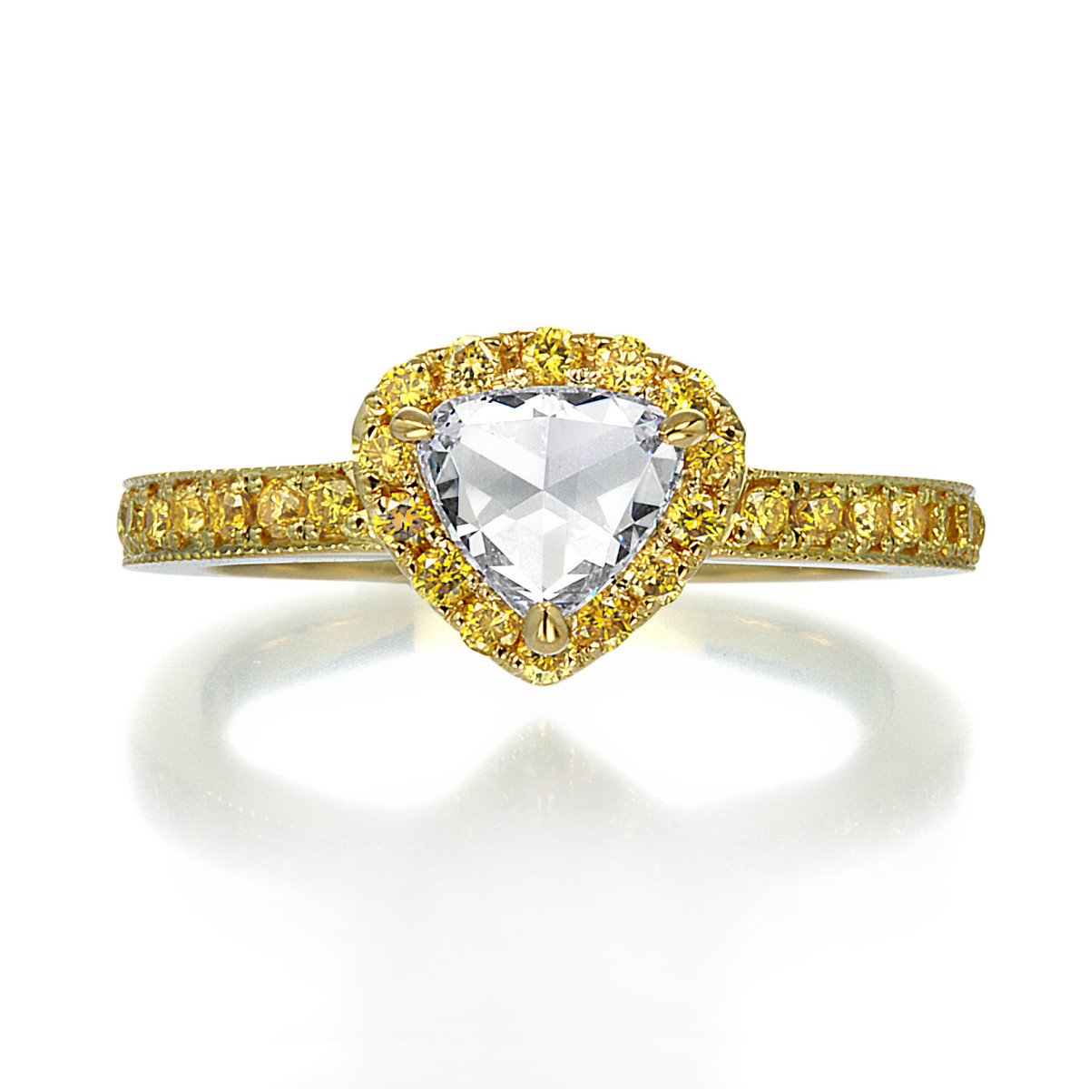 K18 YG Rose Cut and Fancy Yellow Diamond Ring By Mark Hiroshi Willis