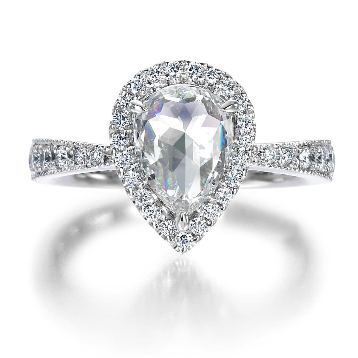 1ct pear shape rose cut halo diamond engagement ring