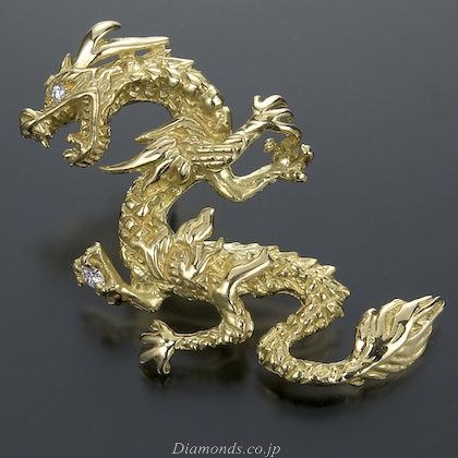 Gold and Diamonds Dragon Pin   Feng ShuiGold And Diamonds