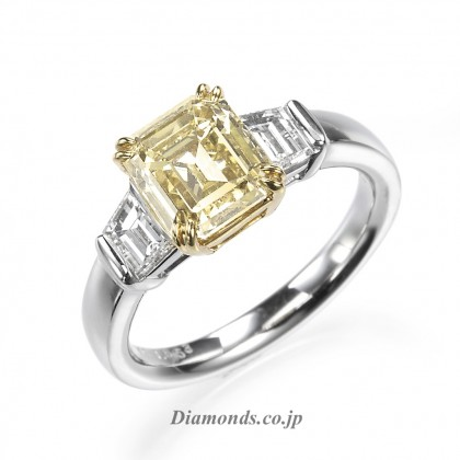 Fancy Color Diamond Ring Emerald Cut Trapezoid Cut